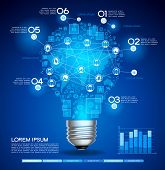 Creative light bulb with technology business Network process, The file is saved in the version AI10