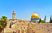 stock photo of torah  - View of the golden Dome of the Rock and the Western Wall - JPG