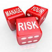 stock photo of dice  - Manage Your Risk in a dangerous world - JPG