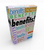The word Benefits on a product box or package to illustrate the advantage or special uniqe qualities