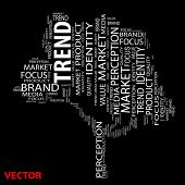 Vector concept or conceptual tree trend or brand word cloud on black background wordcloud