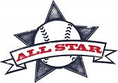 Baseball or Softball All Star Graphic