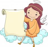 Illustration of a Girl Angel holding a Blank Scroll while Sitting on a Cloud