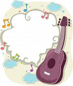Background Illustration of Guitar with Musical Notes Frame