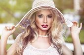 Sexy Blonde Woman With Ed Lips And Hat