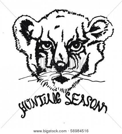sketch lion for apparel