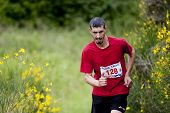 Runner surrounded by gorse in full bloom