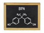chemical formula of bpa on a blackboard