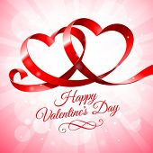 Red ribbon hearts on a pink background