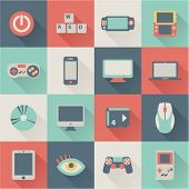 set of colorful flat game icons