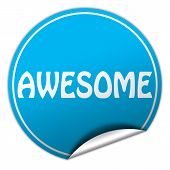 Awesome Round Blue Sticker On White Background