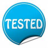Tested Round Blue Sticker On White Background