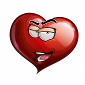 pic of flirtatious  - Cartoon Illustration of a Heart Face Emoticon introducing himself - JPG