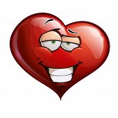 stock photo of flirtatious  - Cartoon Illustration of a smug Heart Face Emoticon - JPG