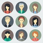 stock photo of packing  - Colorful Female Faces Circle Icons Set in Trendy Flat Style - JPG