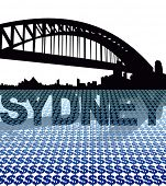 Sydney skyline reflected with dollar symbols illustration