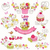 Set of holiday symbols with cupcake, macaroon, berries, flowers, birds and butterflies.