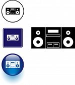 stereo music player symbol sign and button