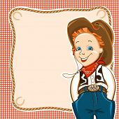 stock photo of wrangler  - Cowboy happy child with western traditional clothes - JPG