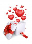 Red hearts fly out of an open gift box
