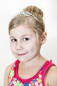 Young Girl With Diadem On The Head. Close Up Portrait