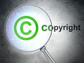 Law concept: Copyright and Copyright with optical glass