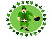 pic of fourleaf  - irish leprechaun dressed in green suit holding a beer and pot of gold surrounded by circle  of fourleaf clover - JPG
