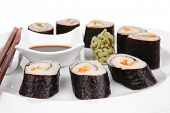 Japanese Traditional Cuisine - California Roll with Salmon (sake), Cream Cheese and Tuna (maguro) .