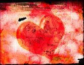 Valentines heart symbolizing giving love to another on old paper