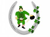 pic of fourleaf  - green suited irish leprechaun with beer in hand and pot of gold in other inside silver horseshoe with fourleaf clover on side - JPG