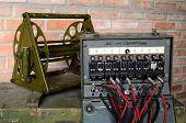 KIEV, UKRAINE -NOV 3: Vintage Soviet military field telephone commutator  during historical military reenactment, festival  and exhibition, November 3, 2013 Kiev, Ukraine