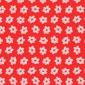 Sketchy White Flower Pattern on Red Background