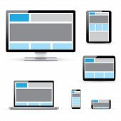 Modern responsive computer, laptop, tablet and smartphone vectors