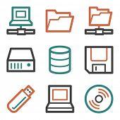 Drive storage web icons, contour series