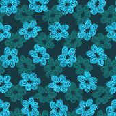 Sketchy Blue Flower Pattern