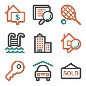 Real estate web icons, contour series