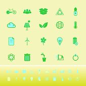 Ecology Color Icons On Yellow Background