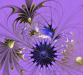 Beautiful Fractal Flower In Blue And Beige On Lilac Background. Computer Generated Graphics.