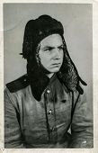 USSR - CIRCA 1945: Photo taken in the USSR, the portrait of an officer tanker of the Red Army, circa 1945