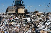 picture of trash truck  - View of truck moving trash in a landfill - JPG