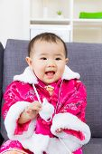 Chinese baby girl feel so excited