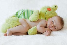 stock photo of baby frog  - Little baby boy - JPG