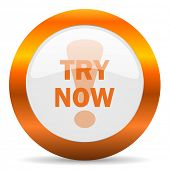 try now computer icon on white background
