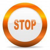 stop computer icon on white background
