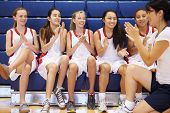 pic of motivation talk  - Coach Of Female High School Basketball Team Gives Team Talk - JPG