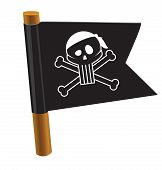 Black flag with pirate symbol.