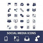 social media, network, blog icons, signs set, vector
