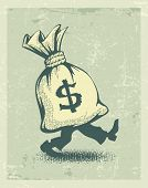 full sack of money sign dollar with legs walking. Rasterized illustration.