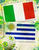 Italy vs Uruguay soccer ball concept