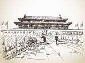 June 18, 2014 - Tiananmen Gate at the Tiananmen Square, Beijing, China. Hand drawn vector illustrati